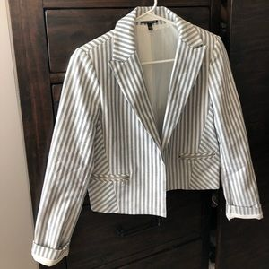 Blue and white pin stripe blazer